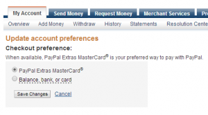choose paypal mastercard as a preferred way
