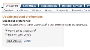 choose paypal mastercard as a preferred way