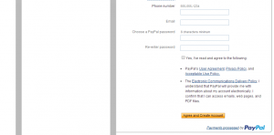enter info in new paypal account 1