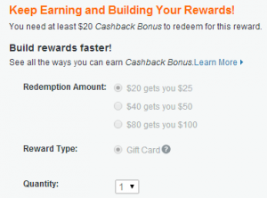 redeem cashback for partners gift cards