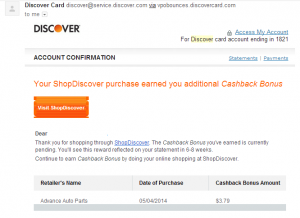 shopdiscover confirmation emal