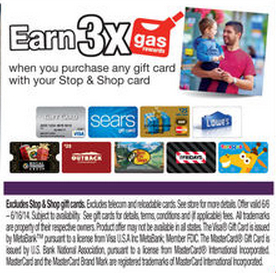 earn 3x on the purchase of gcs at s&s