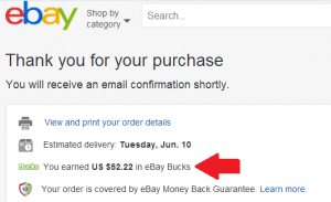 earned $52.22 ebay bucks