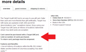 target visa gift card details