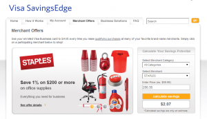 visa savingsedge staples offer