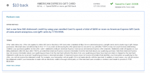 $10 credit on $200 amex gc