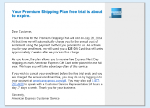 $25 gc for one year premium shipping plan enrollment