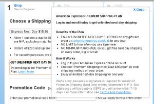 american express premium shipping plan