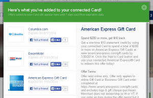 amex offer on 200 or more amex gc
