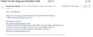 amex offer staple confirmation email
