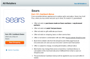 shopdiscover 10 percent cash back at sears