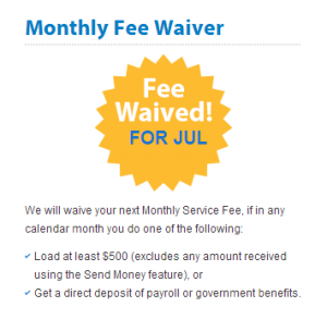monthly fee waiver option