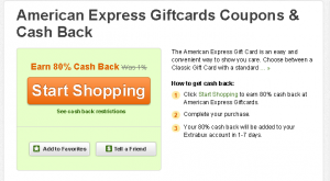 80 percent cash back on amex gc