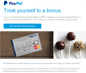 paypal business debit card offer