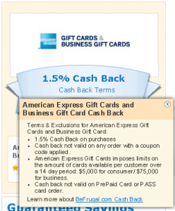1.5 percent cash back on amex gift card
