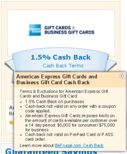1.5 percent cash back on amex gift card