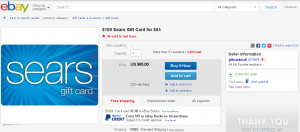 15 percent discount sears gift card