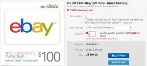 6 percent off ebay gift card