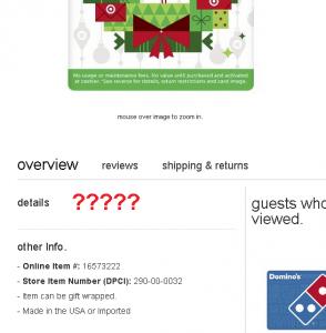 target visa holiday gift card out of stock