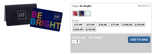gap gift card with case
