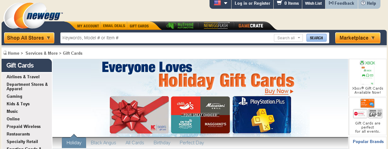 3rd party gift cards at newegg