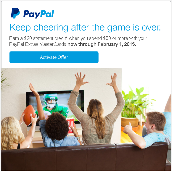 paypal extras mastercard 1st offer 2015