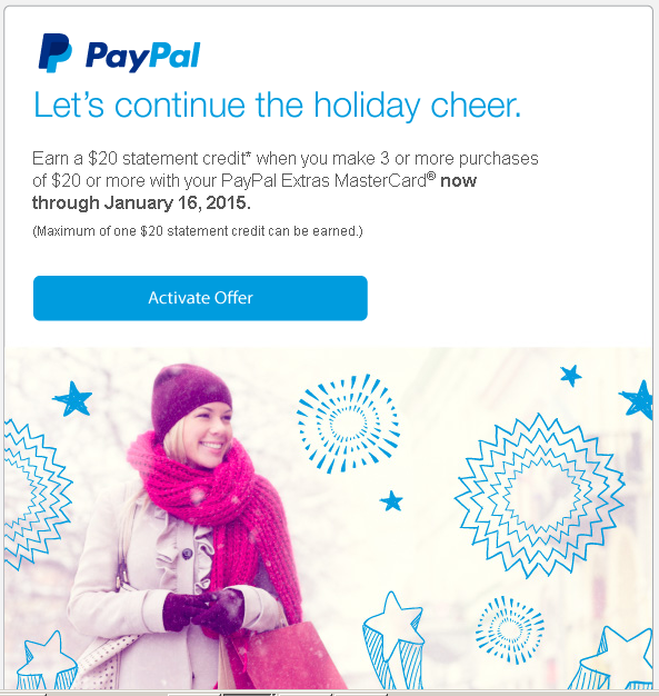 paypal extras mastercard offer