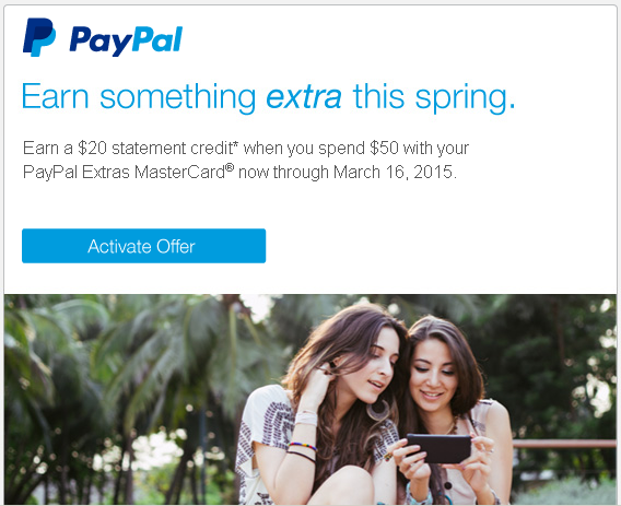 20 back on 50 paypal extras
