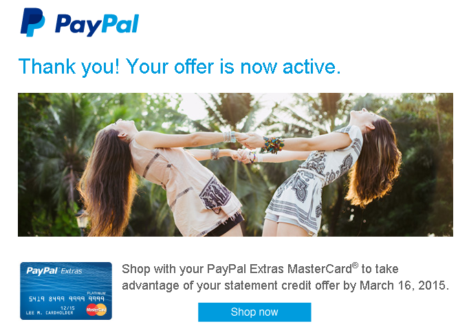 paypal extras offer activation