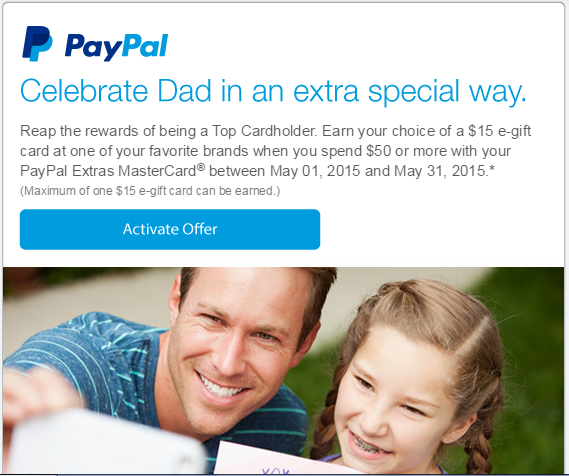paypal extras offer free $15 gift card