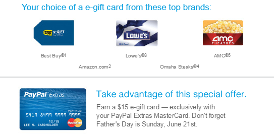 paypal extras offer your choice of a e-gift card