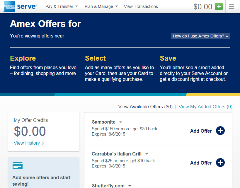amex offer at serve dot com