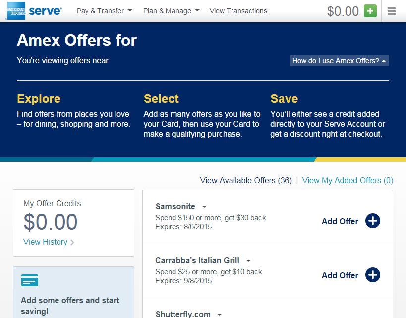 amex offer at serve dot com