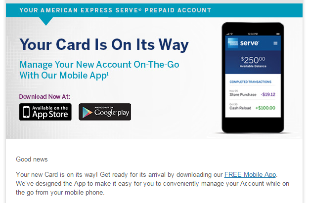 amex serve card is on its way