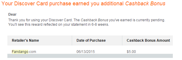 cashback from dd for fandango gc purchase