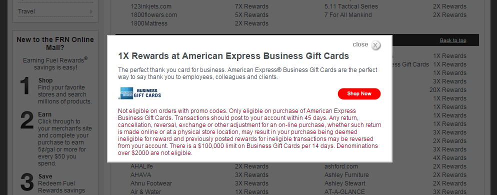 Amex business gc offer returned to fuel rewards network for American express business gift cards