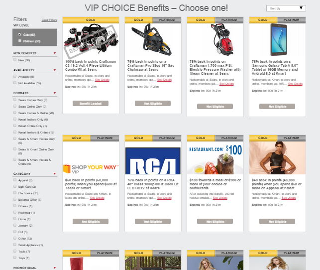 shop your way vip choice benefit gold