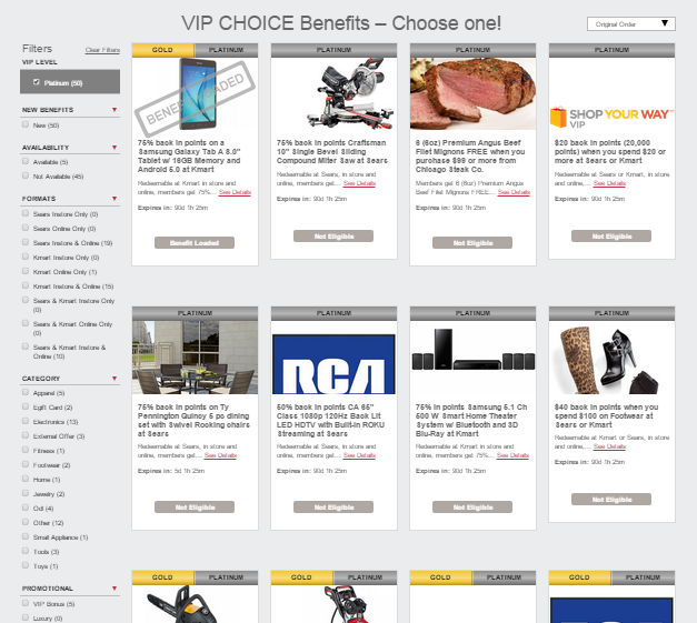 shop your way vip choice benefit platinum