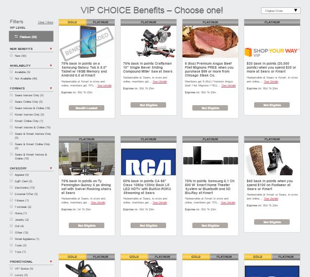 shop your way vip choice benefit platinum
