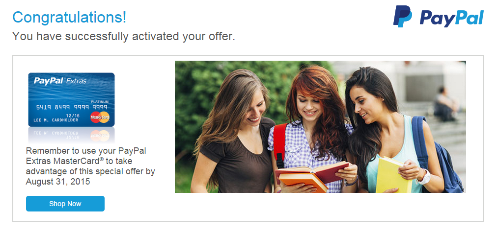 paypal extras mastercard back to school promo