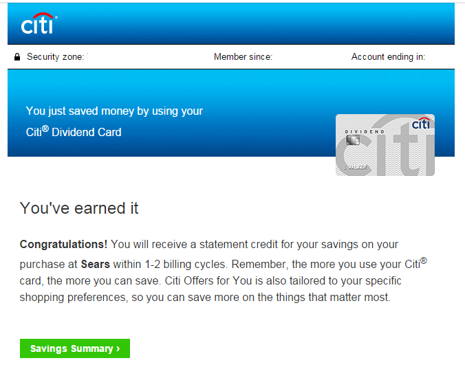 my first citi smart savings redemption