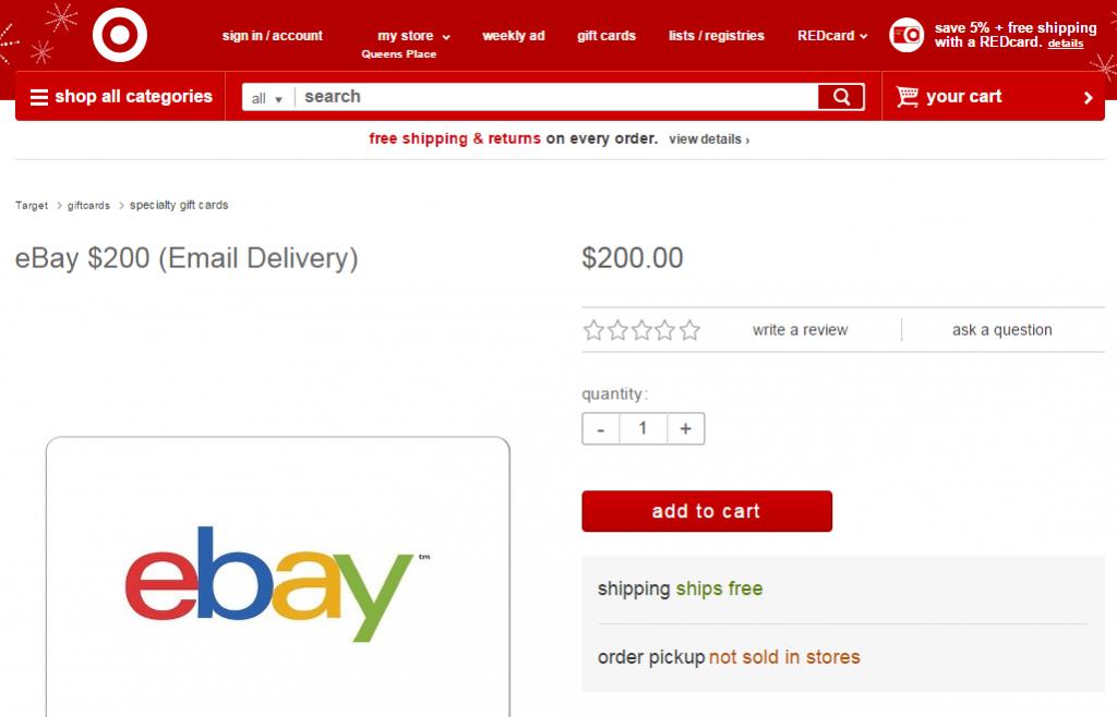200 ebay gift card at target